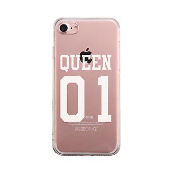 Queen01 Transparent Couple Matching Phone Case Cute Clear Phonecase