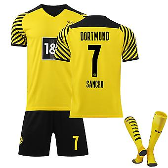 Sancho #7 Jersey Home 2021-2022 Ny säsong Borussia Dortmund Fotboll T-Shirts Jersey Set för barnungdomar