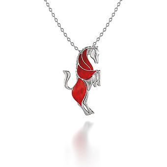 ADEN 925 Sterling Silver Coral Horse Pendant Necklace (id 5987)