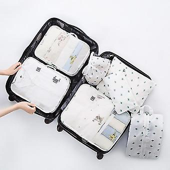 7 Piece set of luggage packing travel organizer cubes and pouches(White Cactus)