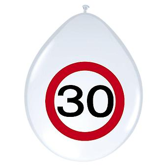 Balloon balloons 8 St. Road Sign number 30 birthday party decoration 30cm Size