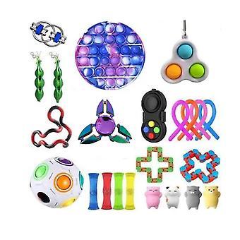 23pcs Push Pop Bubble Rainbow Plastic Fidget Toy Stress Relievers Set