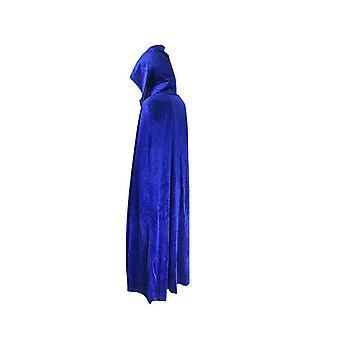 Adult Halloween Velvet Cloak Cape Hooded Medieval Costume Witch Wicca Vampire Halloween Costume Dress Coats Blue