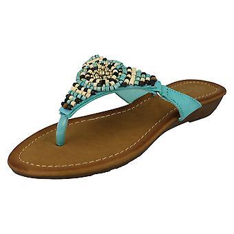 Ladies Savannah Beaded Toe Post Sandals