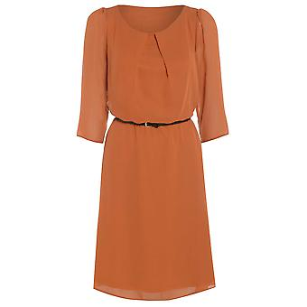 Womens belte flowy chiffon kjole DR880-Orange-16