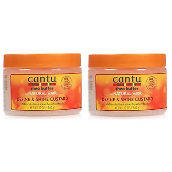 Cantu Natural Hair Define And Shine Custard 12oz Jar (2 Pack)