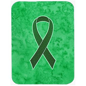 Emerald Green Ribbon for Liver Cancer Awareness Glass Cutting Board Large Size