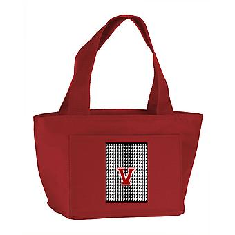 Letter V Monogram - Houndstooth Black Zippered Insulated School Washable and Sty