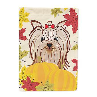Rozmiar Yorkie Terrier Yorkishire Dziękczynienia flaga ogród