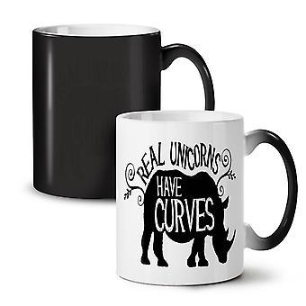 Jednorożce mają krzywe nowy kolor czarny zmiana herbata kawa ceramiczny kubek 11 oz | Wellcoda