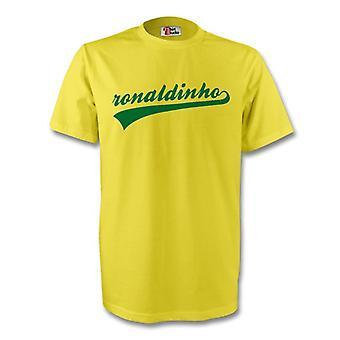 Ronaldinho Brasilien Signatur Tee (gelb) - Kids