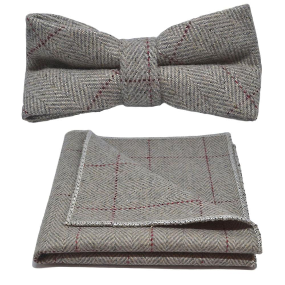 Light Grey Herringbone Bow Tie & Pocket Square Set