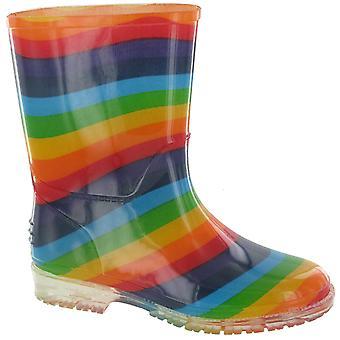 Cotswold PVC barn Rainbow Welly flickor stövlar