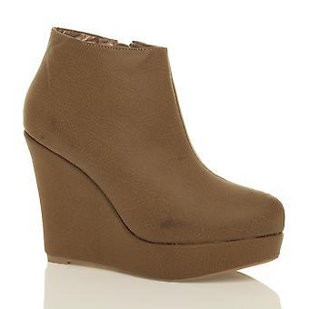 Ajvani womens piattaforma scarpe tacco alto zeppa zip alla caviglia Stivali stivaletti