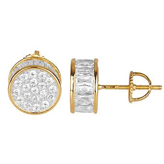 925 boucles MICRO PAVE - rond 10 mm or