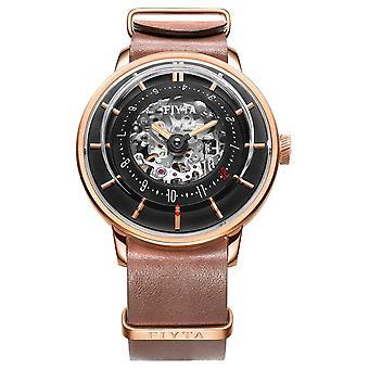FIYTA Mens 3D Time Automatic Leather Rose Gold WGA868000.PBR Watch