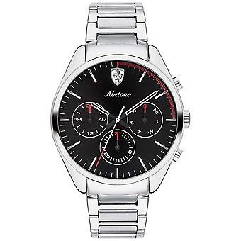 Scuderia Ferrari Mens Abetone Stainless Steel Bracelet Black Chrono 0830505 Watch