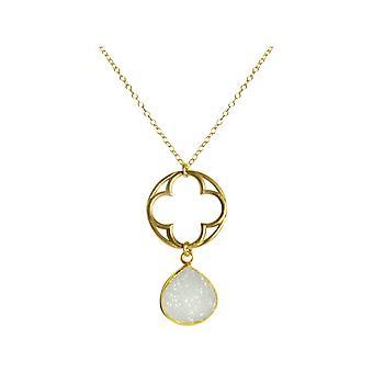 Gemshine kvinners halskjede CLOVER 925 sølv gullbelagt DRUZY hvit kvarts