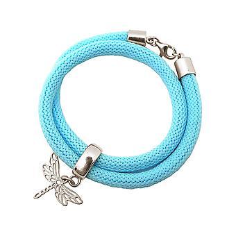 Gemshine kvinners armbånd wrap armbånd 925 sølv Dragonfly blå