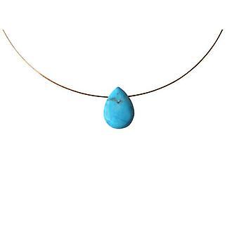 Plaqué or collier turquoise goutte pendentif Halsette MIMI