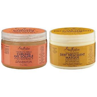 Shea wilgoci kokosowe Curl Smoothie & surowe masło Shea Shea wilgoci głębokiego oczyszczania Masque 12oz