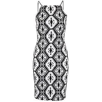 Ladies Embossed Monochrome Aztec Women's Black Velvet Short Bodycon Dress