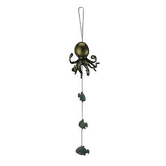 Poulpes et poissons vert aluminium vent Bell en bronze