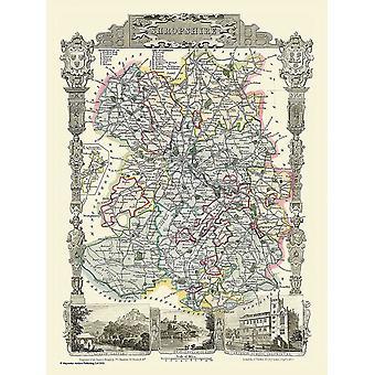 Kart over Shropshire 1836 av Thomas Moule 1000 stykke puslespill (jhg)
