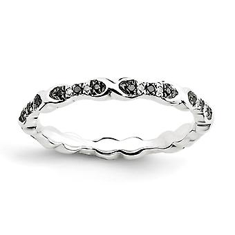925 Sterling Silver Polished Prong ensemble à motifs Rhodium plaqué Expressions Stackable Expressions Noir et Blanc Diamond Ring Jewe