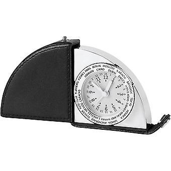 Orton West Leder und Silber klappbarer Reisewecker - weiß/schwarz