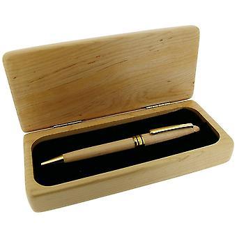 Tijd producten luxe geschenkdoos met standaard balpen - licht bruin/goud