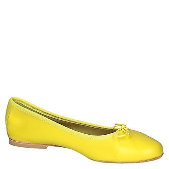 Leonardo Shoes Chaussures Femmes apos;chaussures à plat de ballet faites à la main en cuir napa jaune