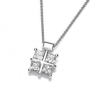 Cavendish French Silver and Cubic Zirconia Square Cross Pendant  with 16-18