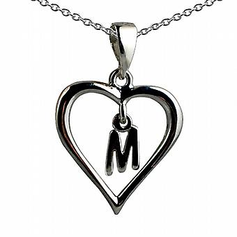 Silver 18x18mm initial M in a heart Pendant with a rolo Chain 20 inches
