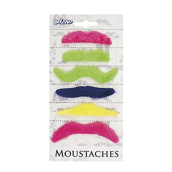 Pack of 6 Coloured Moustaches - Multi Coloured Fancy Dress Accessory
