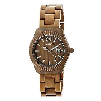 Earth Wood Pith Bracelet Watch w/Date - Olive