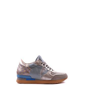 Philippe Modelo Ezbc019011 Mujer's Zapatillas de cuero azul claro/gris