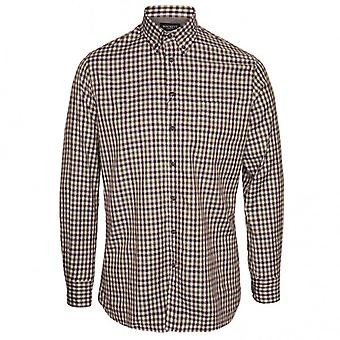 Camisa da verificação do gingham do twill de Hackett, Brown/verde