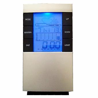Multifunktionell termometer + Hygrometer med väckarklocka