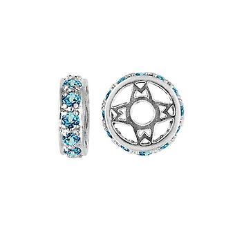 Storywheels sølv & Swiss Blue Topaz Wheel Charm S117SW