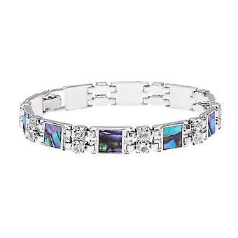 Ewige Sammlung Vision Diamante Paua Shell Link Silberfarbe Tennisarmband