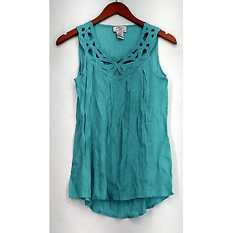 OSO Casuals Top Openwork Woven Top Cut Out Bright Blue Womens A430284