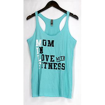 Next Level Top Graphic Print Mom Fitness Racer Back Tee Blue Womens