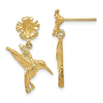 14k Yellow Gold Textured Polished Post Earrings Humming Bird Dangle from Flower Earrings - 2.3 Grams