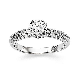 925 Sterling Silver and CZ Cubic Zirconia Simulated Diamond Brilliant Embers Ring Jewelry Gifts for Women - Ring Size: 6