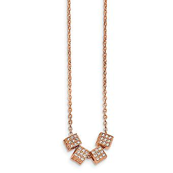 Stainless Steel Rose Ip-plated With Cubic Zirconia With 2inch Ext. Necklace - 16.5 Inch