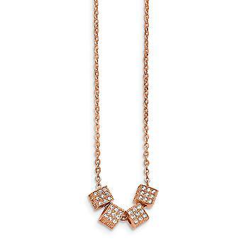 Stainless Steel Rose Ip verguld met CZ Cubic Zirconia Gesimuleerde Diamant met 2inch Ext. Ketting 16,5 Inch Sieraden Geschenken