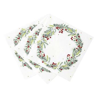 Botanical Berry Wreath Paper Party Christmas Napkin x 20