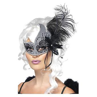 Womens Masquerade Dark Angel Eyemask Fancy Dress Accessory