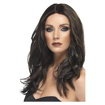 Womens Black Superstar parrucca costume accessorio